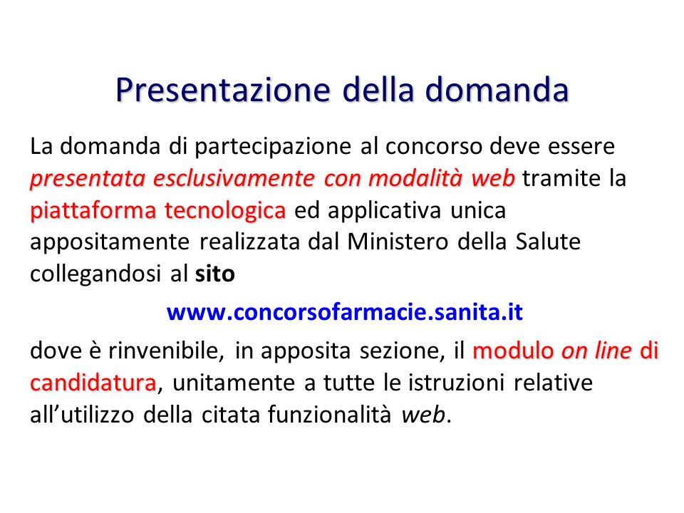 Presentazione della domanda presentata esclusivamente con modalità web piattaforma tecnologica La domanda di partecipazione al concorso deve essere pr
