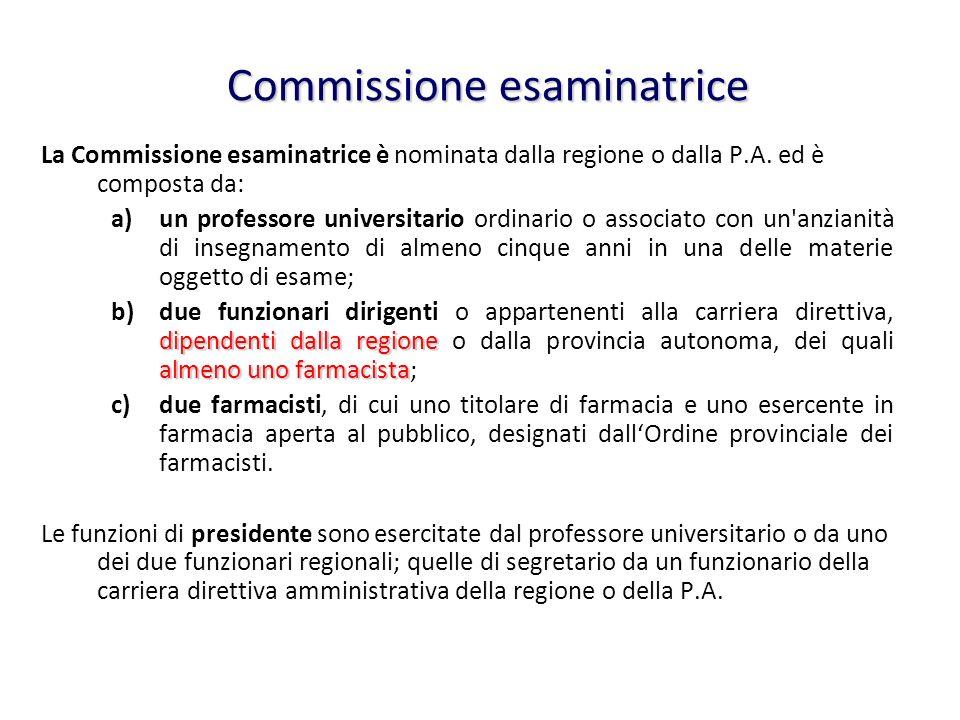 Commissione esaminatrice La Commissione esaminatrice è nominata dalla regione o dalla P.A. ed è composta da: a)un professore universitario ordinario o