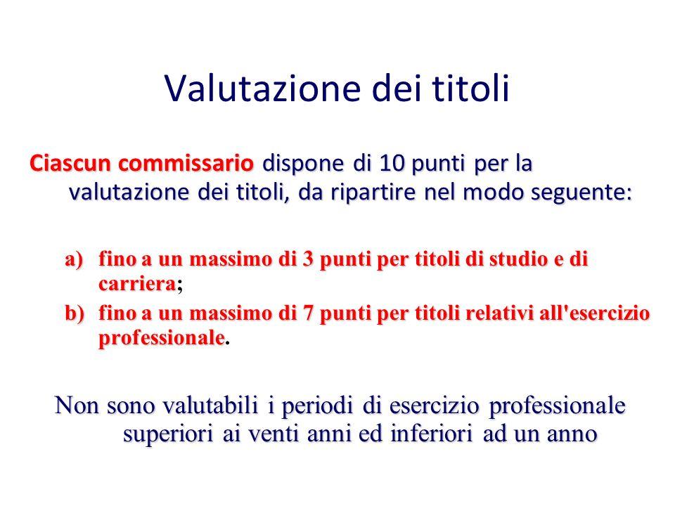 Valutazione dei titoli Ciascun commissario dispone di 10 punti per la valutazione dei titoli, da ripartire nel modo seguente: a)fino a un massimo di 3
