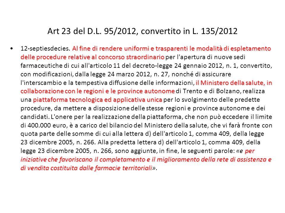 Art 23 del D.L. 95/2012, convertito in L. 135/2012 Al fine di rendere uniformi e trasparenti le modalità di espletamento delle procedure relative al c