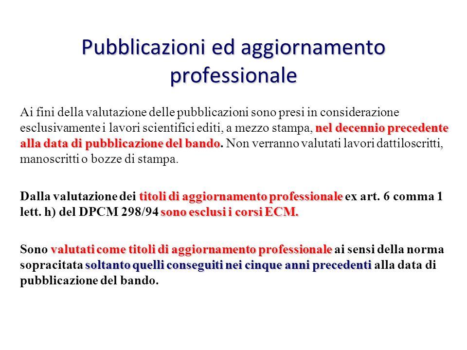 Pubblicazioni ed aggiornamento professionale nel decennio precedente alla data di pubblicazione del bando Ai fini della valutazione delle pubblicazion