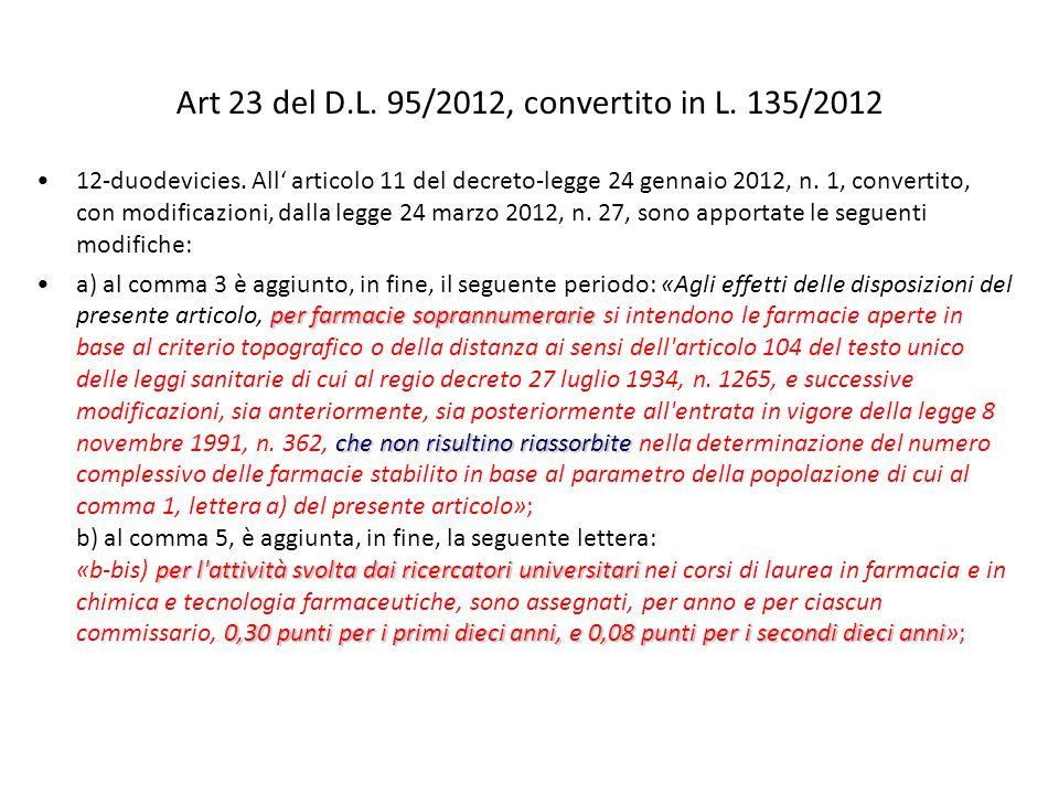 Art 23 del D.L. 95/2012, convertito in L. 135/2012 12-duodevicies. All articolo 11 del decreto-legge 24 gennaio 2012, n. 1, convertito, con modificazi