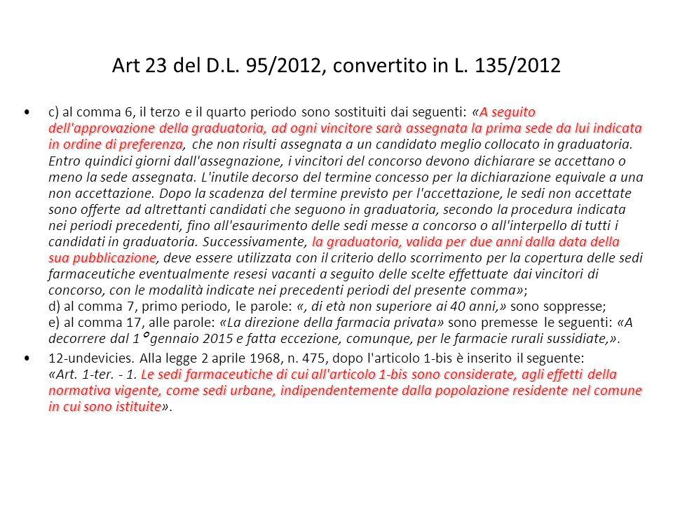 Art 23 del D.L. 95/2012, convertito in L. 135/2012 A seguito dell'approvazione della graduatoria, ad ogni vincitore sarà assegnata la prima sede da lu