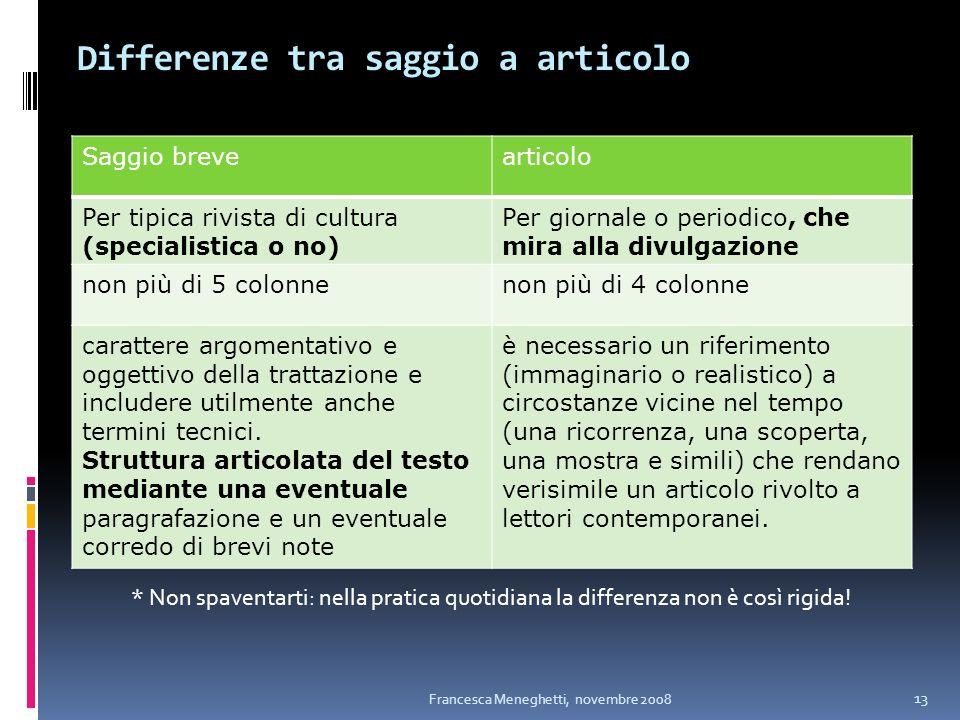Differenze tra saggio a articolo Saggio brevearticolo Per tipica rivista di cultura (specialistica o no) Per giornale o periodico, che mira alla divul