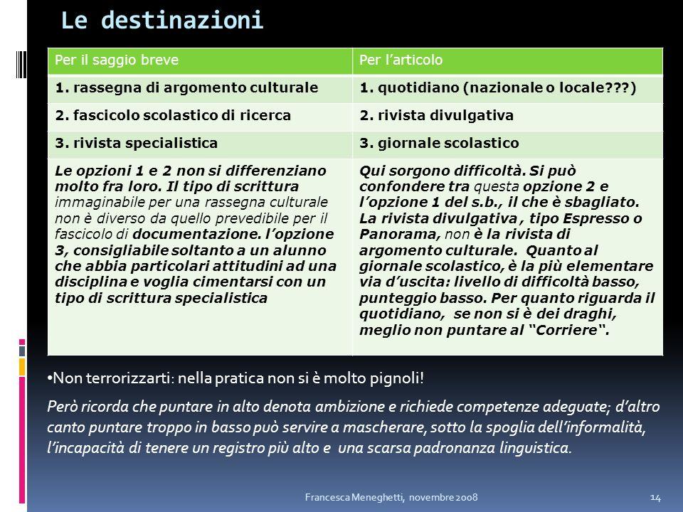 Le destinazioni Francesca Meneghetti, novembre 2008 14 Per il saggio brevePer larticolo 1. rassegna di argomento culturale1. quotidiano (nazionale o l
