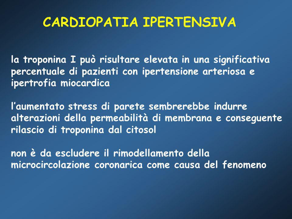 cTnI > 0,5 ng/mL Siciliano et al Italian Heart Journal 2000 n=100 (23 con IVS) Troponin I serum concentration: a new marker of left ventricular hypertrophy in patients with essential hypertension