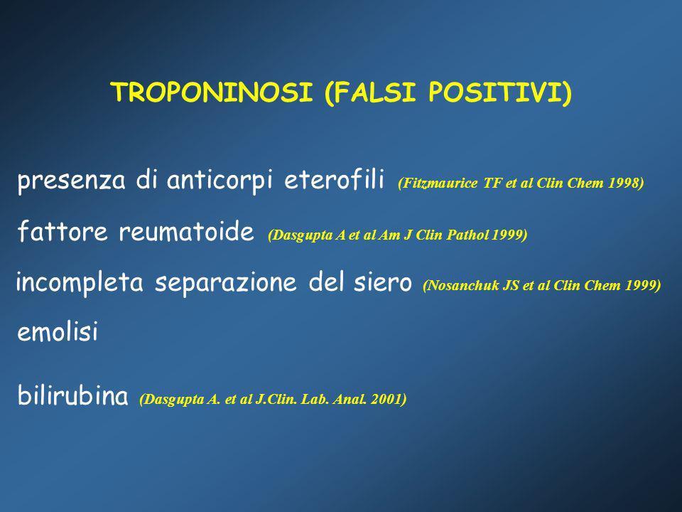TROPONINOSI (FALSI POSITIVI) presenza di anticorpi eterofili (Fitzmaurice TF et al Clin Chem 1998) fattore reumatoide (Dasgupta A et al Am J Clin Path