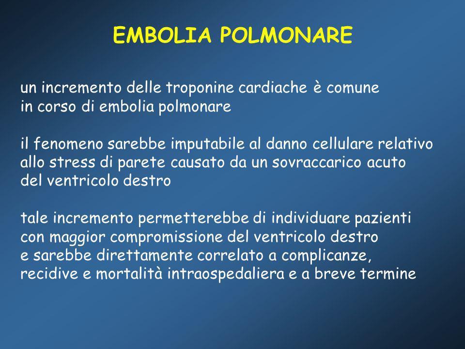 EMBOLIA POLMONARE un incremento delle troponine cardiache è comune in corso di embolia polmonare il fenomeno sarebbe imputabile al danno cellulare rel
