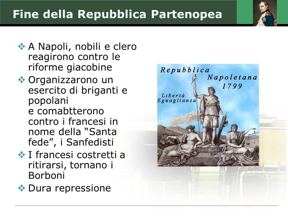 Fine della Repubblica Partenopea A Napoli, nobili e clero reagirono contro le riforme giacobine Organizzarono un esercito di briganti e popolani e com