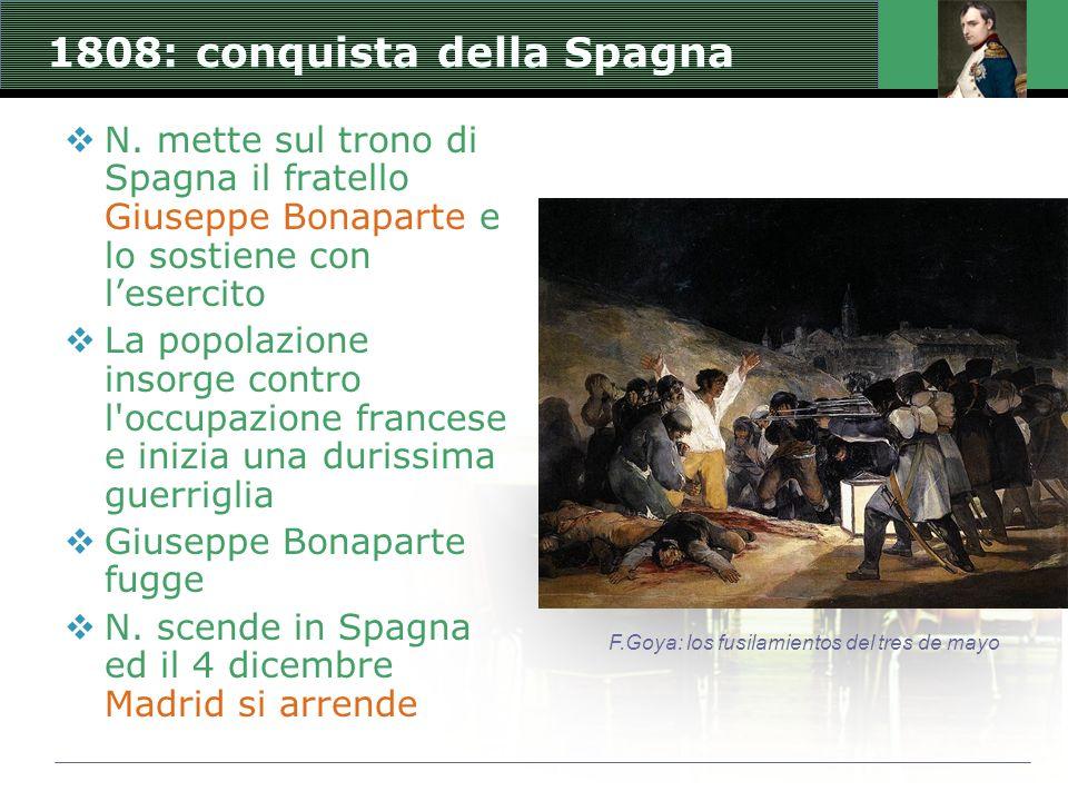 1808: conquista della Spagna N. mette sul trono di Spagna il fratello Giuseppe Bonaparte e lo sostiene con lesercito La popolazione insorge contro l'o