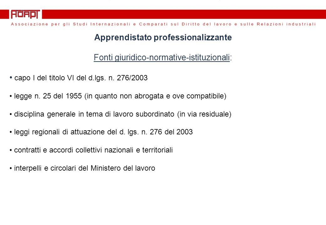 Apprendistato professionalizzante Fonti giuridico-normative-istituzionali: capo I del titolo VI del d.lgs.