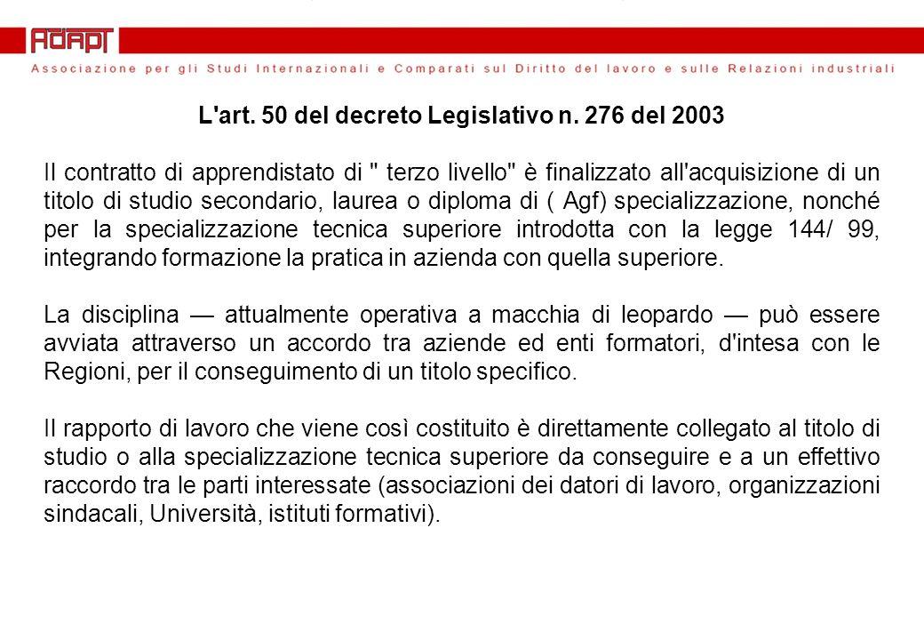 L art. 50 del decreto Legislativo n.
