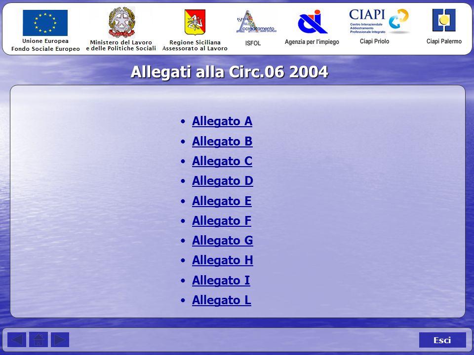 Allegati alla Circ.06 2004 Esci Allegato A Allegato B Allegato C Allegato D Allegato E Allegato F Allegato G Allegato H Allegato I Allegato L