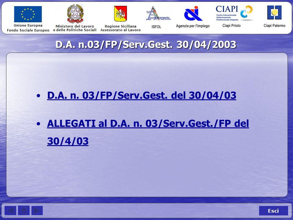 D.A. n.03/FP/Serv.Gest. 30/04/2003 Esci D.A. n.
