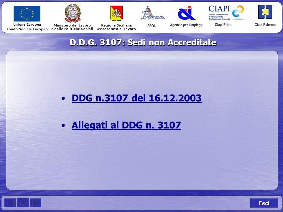 D.D.G. 3107: Sedi non Accreditate Esci DDG n.3107 del 16.12.2003 Allegati al DDG n. 3107