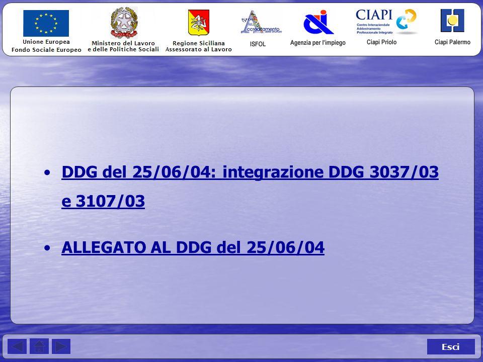 Esci DDG del 25/06/04: integrazione DDG 3037/03 e 3107/03DDG del 25/06/04: integrazione DDG 3037/03 e 3107/03 ALLEGATO AL DDG del 25/06/04
