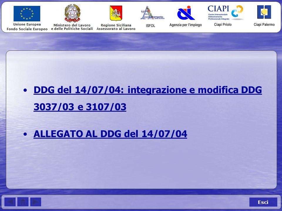 Esci DDG del 14/07/04: integrazione e modifica DDG 3037/03 e 3107/03DDG del 14/07/04: integrazione e modifica DDG 3037/03 e 3107/03 ALLEGATO AL DDG del 14/07/04