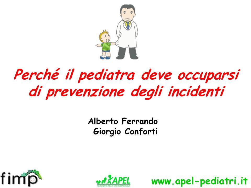 www.apel-pediatri.it NEI PAESI OCCIDENTALI GLI INCIDENTI RAPPRESENTANO LA PRIMA CAUSA DI MORTE NELLA FASCIA DI ETA PEDIATRICA IN ITALIA IL 20% DEI RICOVERI IN ETA PEDIATRICA E DOVUTO AD UN INCIDENTE
