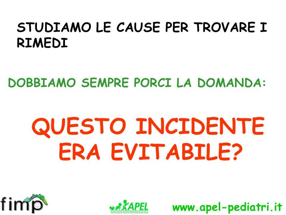 www.apel-pediatri.it STUDIAMO LE CAUSE PER TROVARE I RIMEDI DOBBIAMO SEMPRE PORCI LA DOMANDA: QUESTO INCIDENTE ERA EVITABILE?