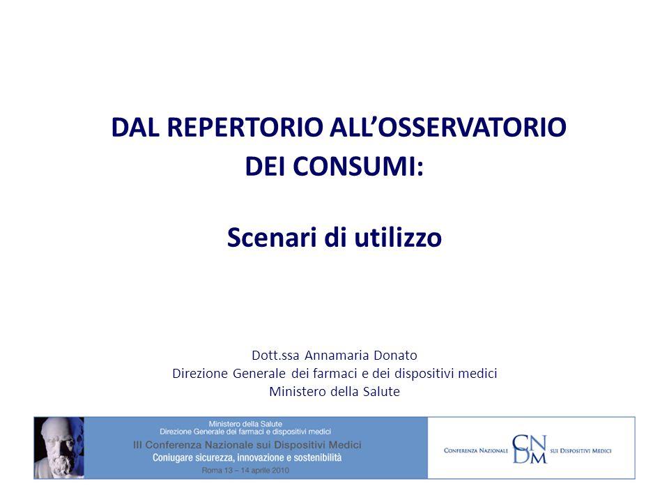 DAL REPERTORIO ALLOSSERVATORIO DEI CONSUMI: Scenari di utilizzo Dott.ssa Annamaria Donato Direzione Generale dei farmaci e dei dispositivi medici Mini
