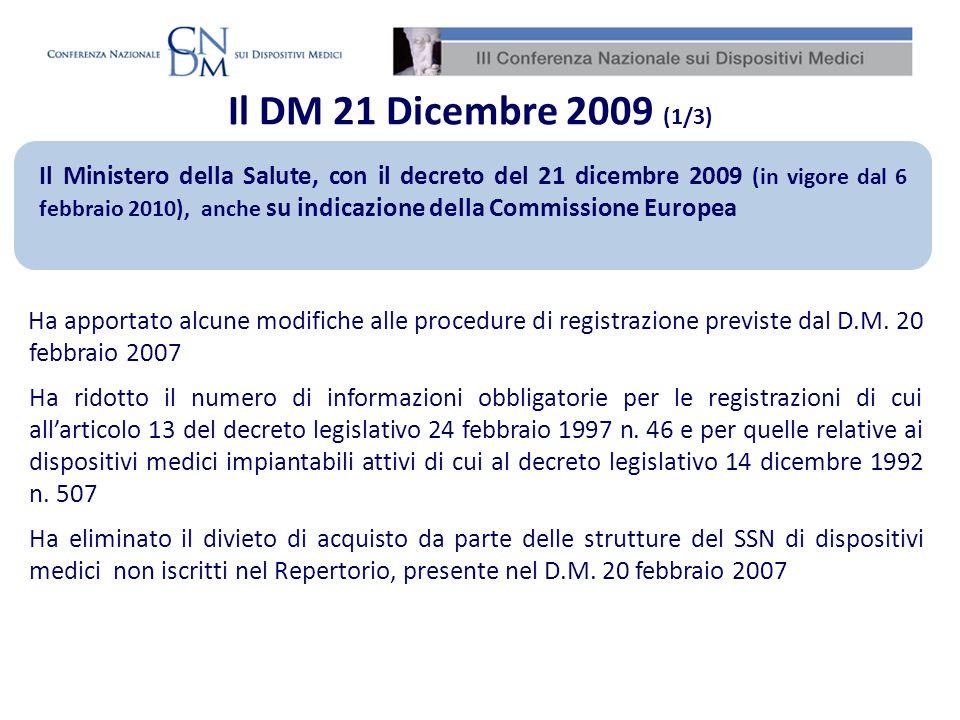 Il DM 21 Dicembre 2009 (1/3) Il Ministero della Salute, con il decreto del 21 dicembre 2009 (in vigore dal 6 febbraio 2010), anche su indicazione dell