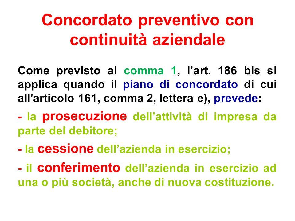 Concordato preventivo con continuità aziendale Come previsto al comma 1, lart. 186 bis si applica quando il piano di concordato di cui all'articolo 16