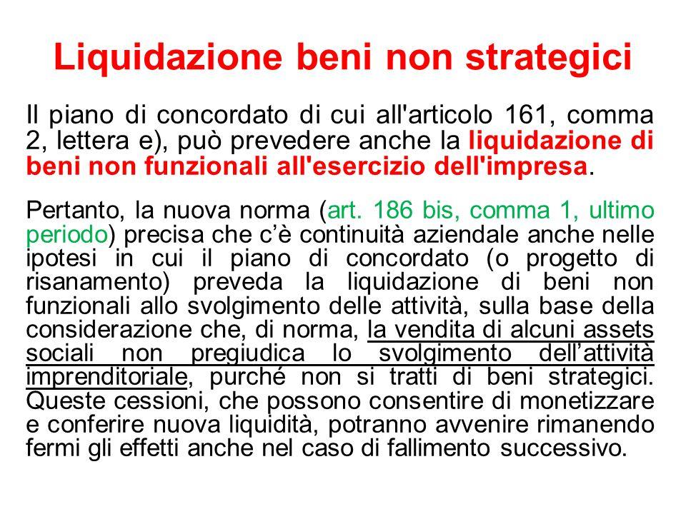 Liquidazione beni non strategici Il piano di concordato di cui all'articolo 161, comma 2, lettera e), può prevedere anche la liquidazione di beni non