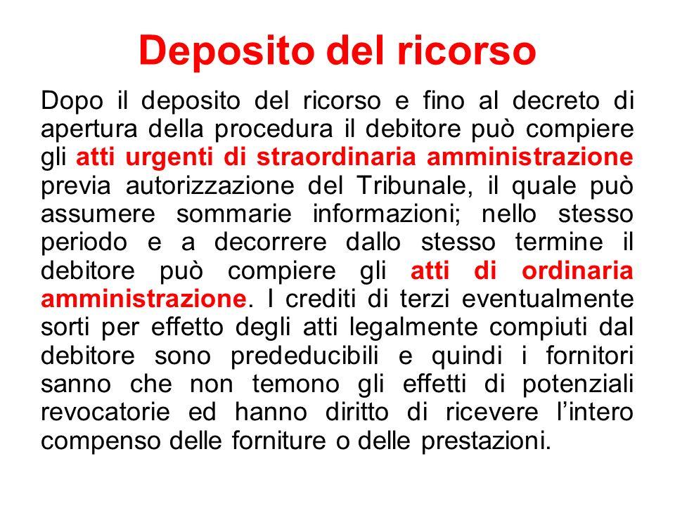 Deposito del ricorso Dopo il deposito del ricorso e fino al decreto di apertura della procedura il debitore può compiere gli atti urgenti di straordin