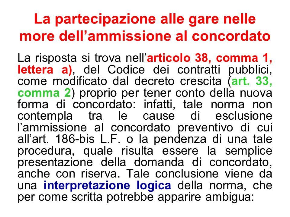 La partecipazione alle gare nelle more dellammissione al concordato La risposta si trova nellarticolo 38, comma 1, lettera a), del Codice dei contratt