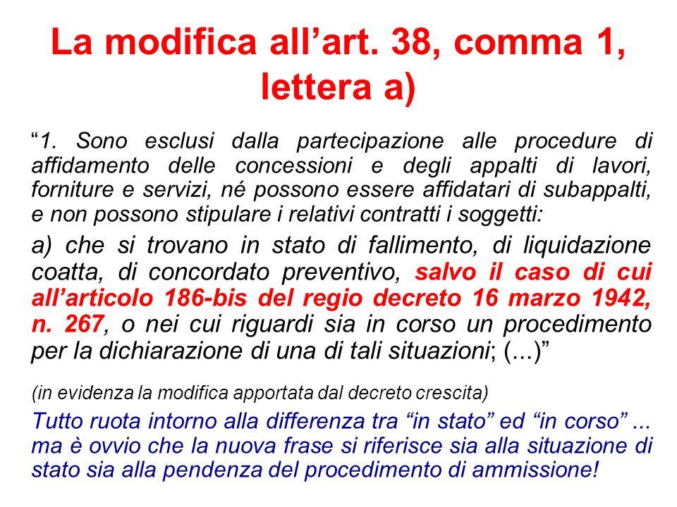 La modifica allart. 38, comma 1, lettera a) 1. Sono esclusi dalla partecipazione alle procedure di affidamento delle concessioni e degli appalti di la