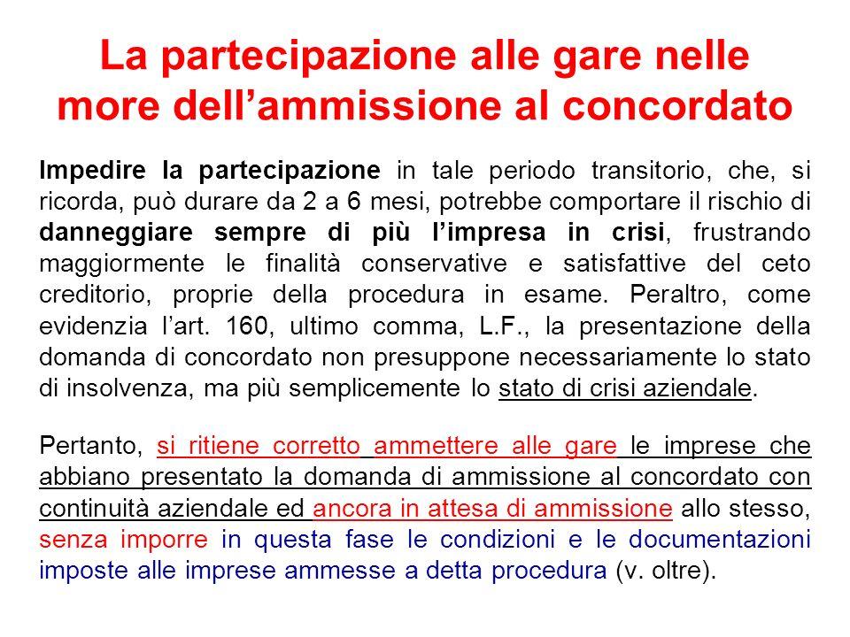 La partecipazione alle gare nelle more dellammissione al concordato Impedire la partecipazione in tale periodo transitorio, che, si ricorda, può durar