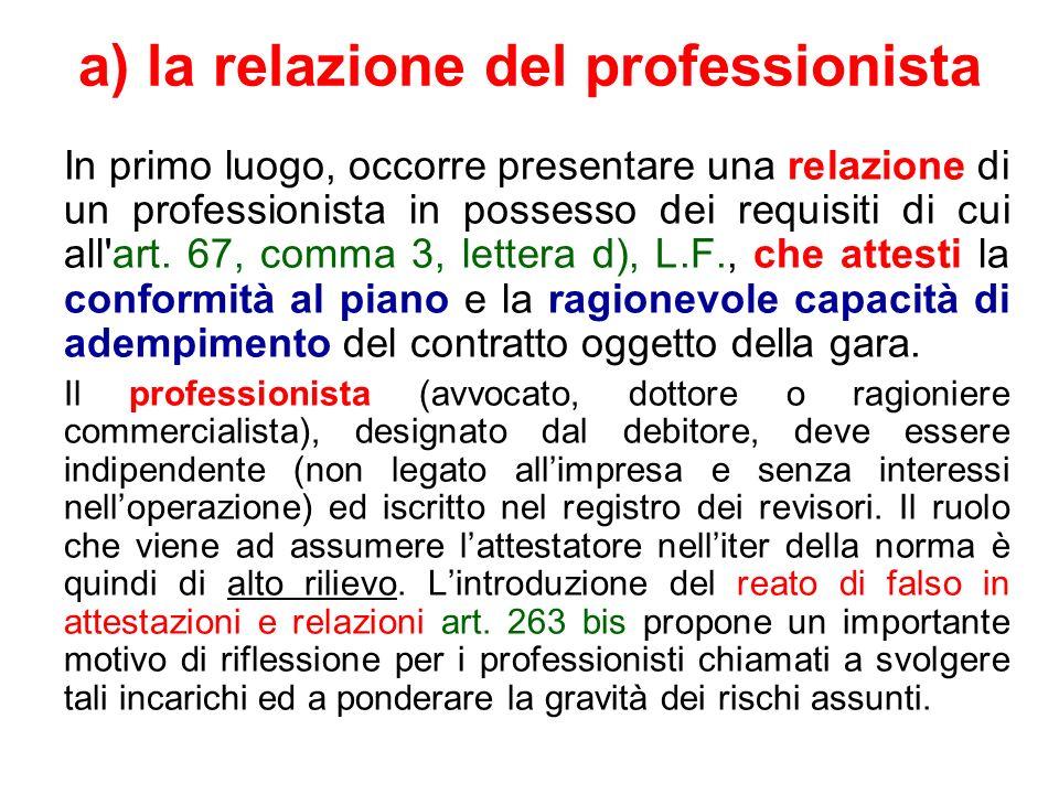 a) la relazione del professionista In primo luogo, occorre presentare una relazione di un professionista in possesso dei requisiti di cui all'art. 67,