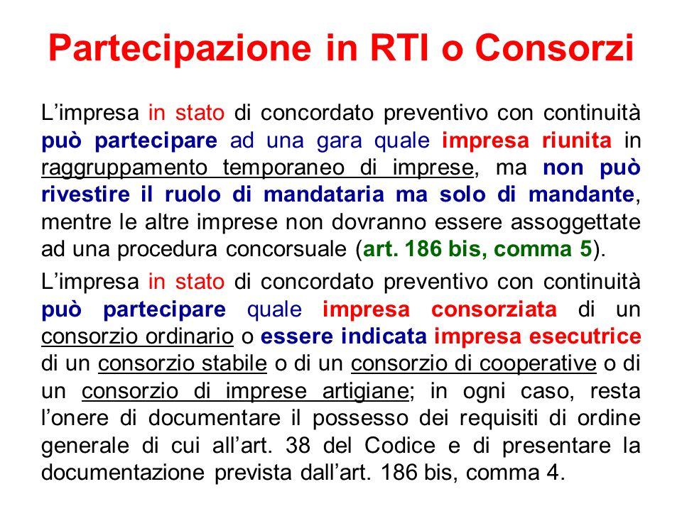 Partecipazione in RTI o Consorzi Limpresa in stato di concordato preventivo con continuità può partecipare ad una gara quale impresa riunita in raggru