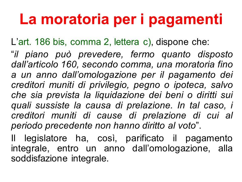 La moratoria per i pagamenti Lart. 186 bis, comma 2, lettera c), dispone che: il piano può prevedere, fermo quanto disposto dallarticolo 160, secondo