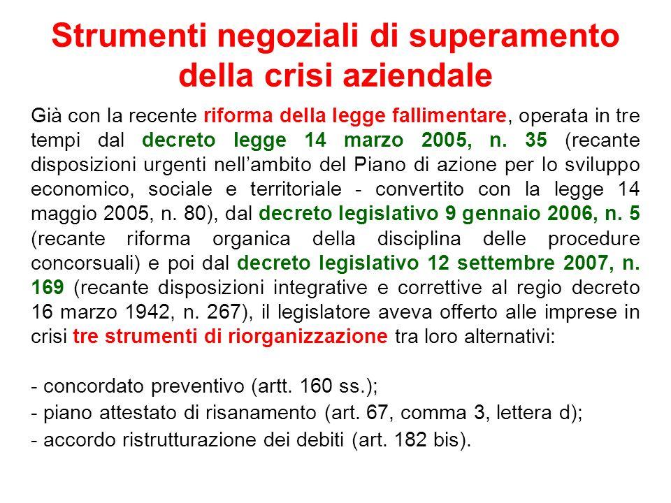Strumenti negoziali di superamento della crisi aziendale Già con la recente riforma della legge fallimentare, operata in tre tempi dal decreto legge 1