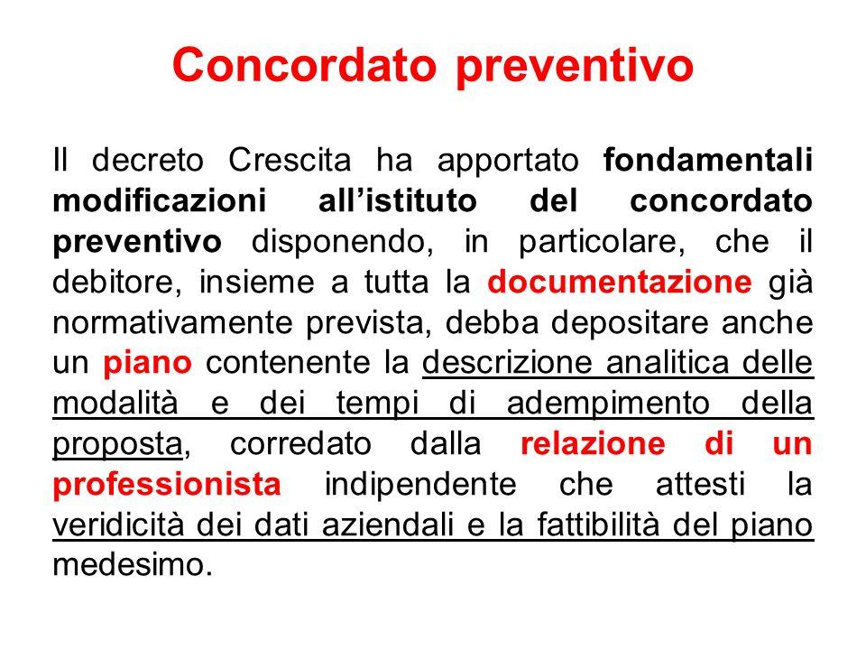 Concordato preventivo Il decreto Crescita ha apportato fondamentali modificazioni allistituto del concordato preventivo disponendo, in particolare, ch