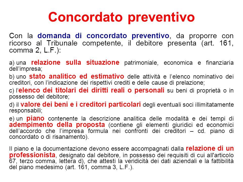 Concordato preventivo Con la domanda di concordato preventivo, da proporre con ricorso al Tribunale competente, il debitore presenta (art. 161, comma