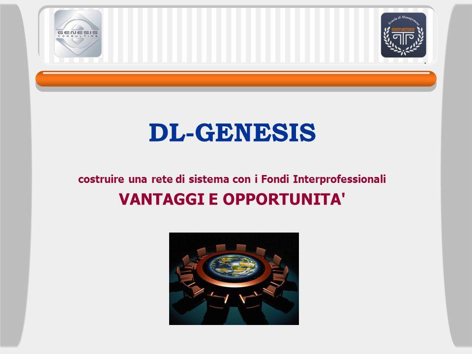 DL-GENESIS costruire una rete di sistema con i Fondi Interprofessionali VANTAGGI E OPPORTUNITA'