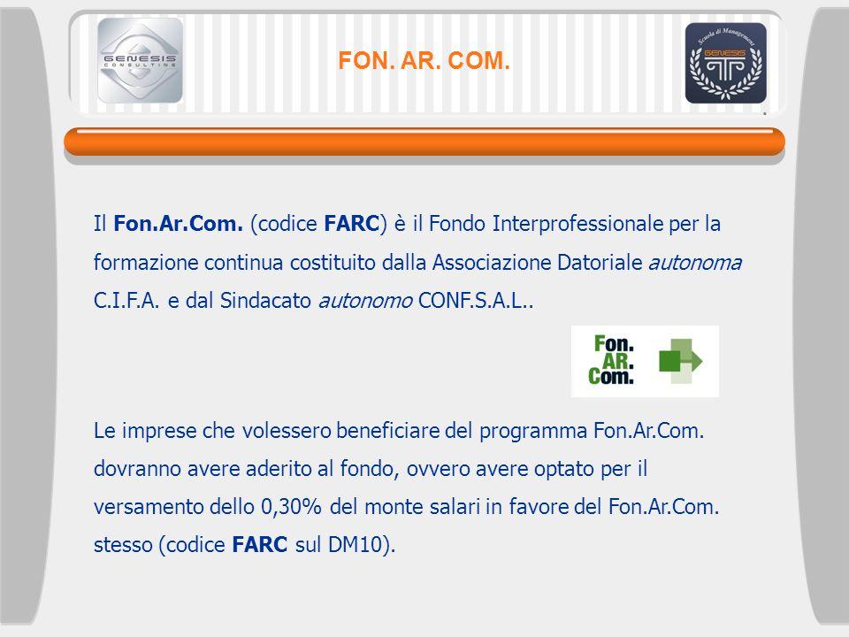 FON. AR. COM. Il Fon.Ar.Com. (codice FARC) è il Fondo Interprofessionale per la formazione continua costituito dalla Associazione Datoriale autonoma C
