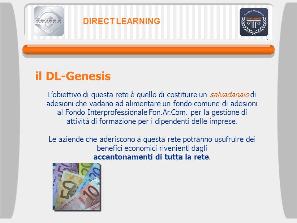 DIRECT LEARNING il DL-Genesis Lobiettivo di questa rete è quello di costituire un salvadanaio di adesioni che vadano ad alimentare un fondo comune di
