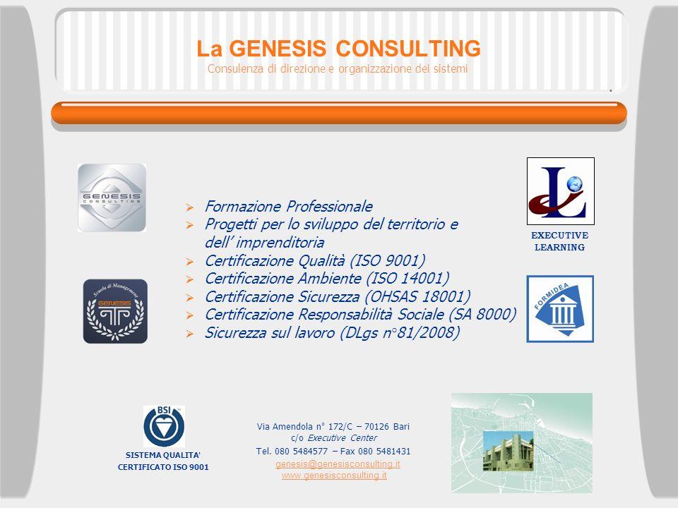 La GENESIS CONSULTING Formazione Professionale Progetti per lo sviluppo del territorio e dell imprenditoria Certificazione Qualità (ISO 9001) Certific