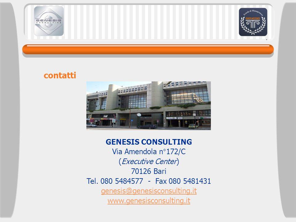 GENESIS CONSULTING Via Amendola n°172/C (Executive Center) 70126 Bari Tel. 080 5484577 - Fax 080 5481431 genesis@genesisconsulting.it www.genesisconsu