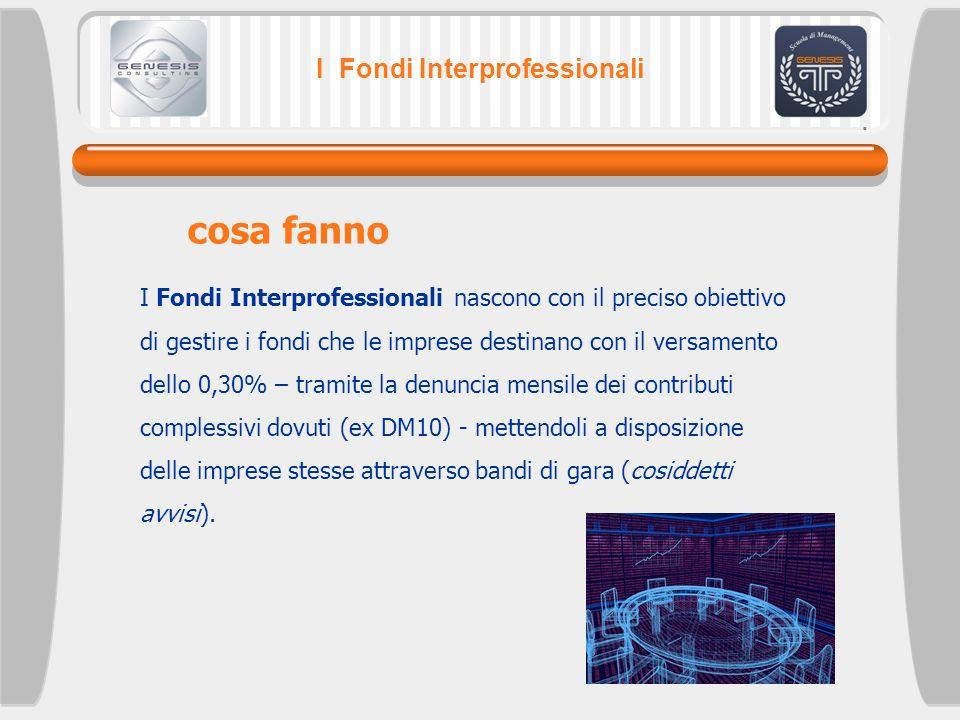 I Fondi Interprofessionali I Fondi Interprofessionali nascono con il preciso obiettivo di gestire i fondi che le imprese destinano con il versamento d
