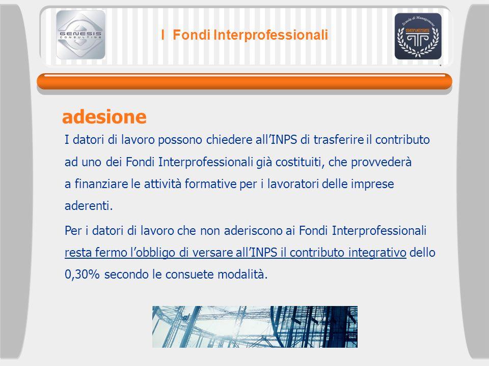 I Fondi Interprofessionali adesione I datori di lavoro possono chiedere allINPS di trasferire il contributo ad uno dei Fondi Interprofessionali già co