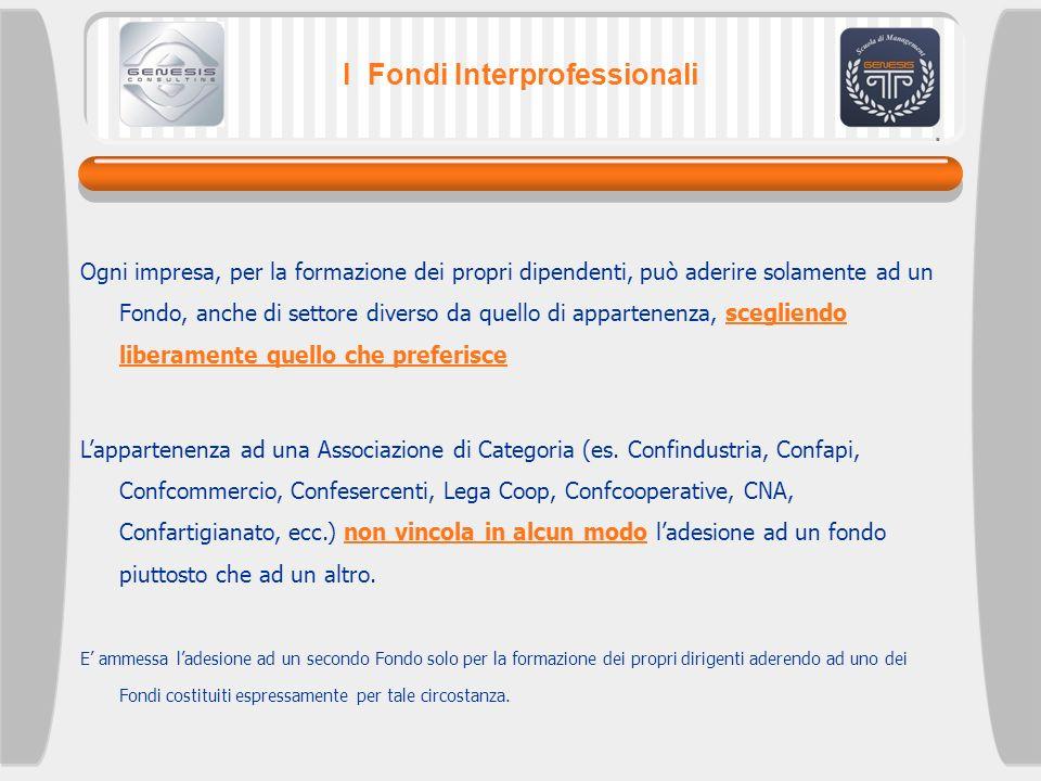 I Fondi Interprofessionali Ogni impresa, per la formazione dei propri dipendenti, può aderire solamente ad un Fondo, anche di settore diverso da quell