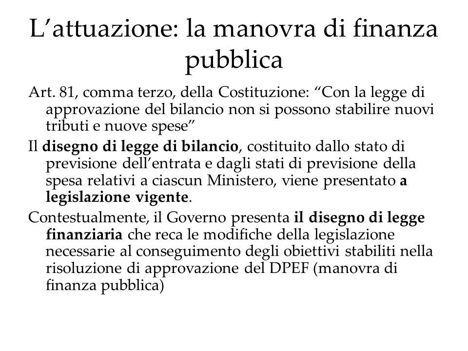Lattuazione: la manovra di finanza pubblica Art. 81, comma terzo, della Costituzione: Con la legge di approvazione del bilancio non si possono stabili
