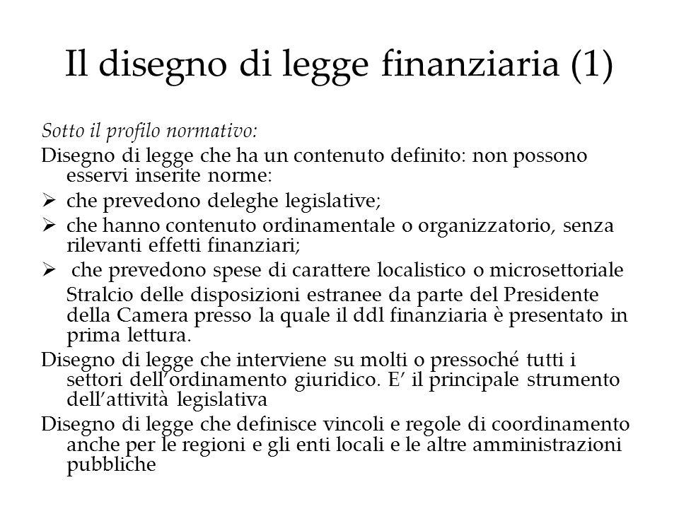 Il disegno di legge finanziaria (1) Sotto il profilo normativo: Disegno di legge che ha un contenuto definito: non possono esservi inserite norme: che