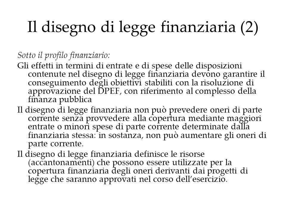 Il disegno di legge finanziaria (2) Sotto il profilo finanziario: Gli effetti in termini di entrate e di spese delle disposizioni contenute nel disegn