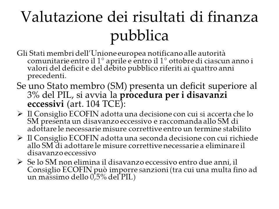 Valutazione dei risultati di finanza pubblica Gli Stati membri dellUnione europea notificano alle autorità comunitarie entro il 1° aprile e entro il 1