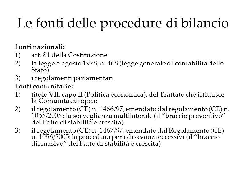 Le fonti delle procedure di bilancio Fonti nazionali: 1)art. 81 della Costituzione 2)la legge 5 agosto 1978, n. 468 (legge generale di contabilità del